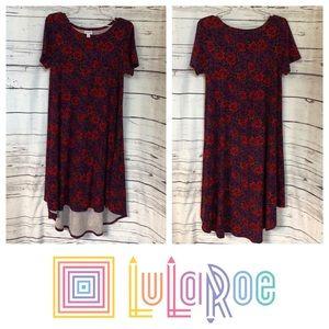 LulaRoe red purple rose high low dress